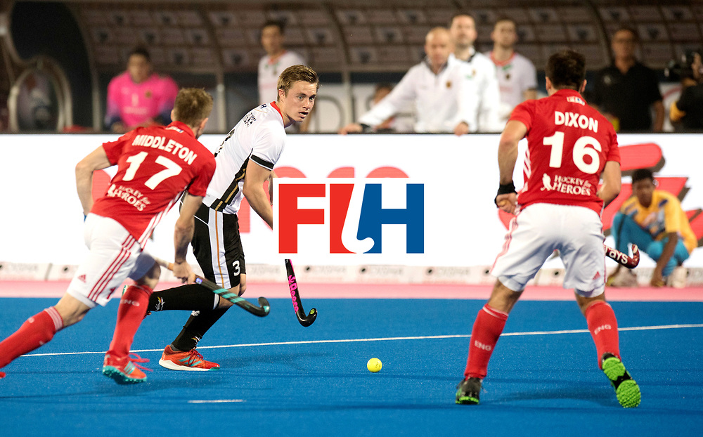 Odisha Men's Hockey World League Final Bhubaneswar 2017<br /> Match id:01<br /> Germany v England<br /> Foto: Mats Grambusch (Ger) duel with Barry Middleton (Eng) and Adam Dixon (Eng) <br /> WORLDSPORTPICS COPYRIGHT FRANK UIJLENBROEK