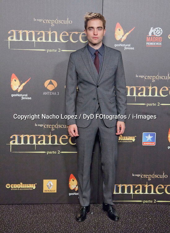 Robert Pattinson attends the Twilight II premiere, Madrid, Spain, November 15, 2012.  Photo by Nacho Lopez / DyD Fotografos / i-Images...SPAIN OUT