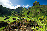 Beautiful Limahuli Gardens on the northern side of Kauai, the peaks are famous for the movie Bali Hai filmed in the area.