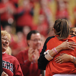Mar 2, 2009; Piscataway, NJ, USA; Rutgers head coach C Vivian Stringer hugs forward Heather Zurich during the senior night ceremony honoring the women's basketball team's graduating seniors prior to their matchup with #1 Connecticut.