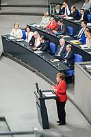 21 MAR 2019, BERLIN/GERMANY:<br /> Angela Merkel, CDU Bundeskanzlerin, waehrend einer  Regierungserklaerung zum Europaeischen Rat vor der Regierungsbank, Plenum, Deutscher Bundestag<br /> IMAGE: 20190321-01-023