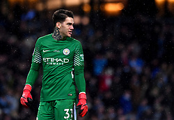 "Manchester City goalkeeper Ederson during the Premier League match at the Etihad Stadium, Manchester. PRESS ASSOCIATION Photo. Picture date: Saturday February 10, 2018. See PA story SOCCER Man City. Photo credit should read: Anthony Devlin/PA Wire. RESTRICTIONS: EDITORIAL USE ONLY No use with unauthorised audio, video, data, fixture lists, club/league logos or ""live"" services. Online in-match use limited to 75 images, no video emulation. No use in betting, games or single club/league/player publications."