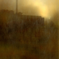 Misty view of a power station