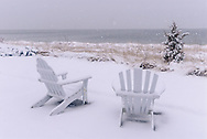 Two Chairs  In Snow, Orient, Long Island, New York, USA