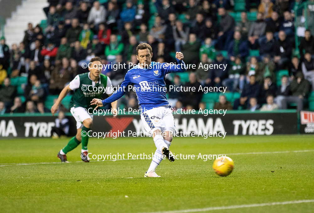 Hibs v St Johnstone…03.11.18…   Easter Road    SPFL<br />Danny Swanson misses from the penalty spot<br />Picture by Graeme Hart. <br />Copyright Perthshire Picture Agency<br />Tel: 01738 623350  Mobile: 07990 594431