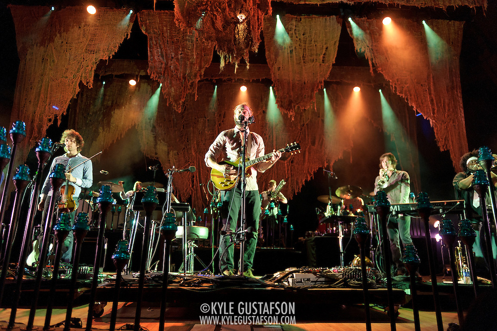 COLUMBIA, MD - September 15th, 2012 - Rob Moose, Justin Vernon,  C.J. Camerieri and Reginald Pace of Bon Iver perform at Merriweather Post Pavilion in Columbia, MD. The group graduated from large clubs to amphitheatres on the success of their second, self-titled album. (Photo by Kyle Gustafson/For The Washington Post)