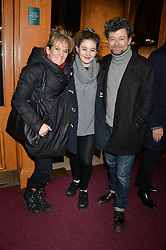 Left to right, LORRAINE ASHBOURNE, RUBY SERKIS and ANDY SERKIS at the opening night of Cirque du Soleil's award-winning production of Quidam at the Royal Albert Hall, London on 7th January 2014.