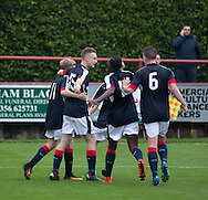 Matthew Henvey is congratulated after scoring a late equaliser for Dundee  - Aberdeen v Dundee, SPFL Under 20s League at Glebe Park, Brechin<br /> <br />  - &copy; David Young - www.davidyoungphoto.co.uk - email: davidyoungphoto@gmail.com