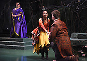 "Mara Lavitt -- Special to the Hartford Courant<br /> March 24, 2016<br /> The run-through of William Shakespeare's ""Cymbeline,"" at the University Theatre at Yale. Michael Manuel as The Queen, Sheria Irving as Imogen, and Christopher Michael McFarland as Pisanio."