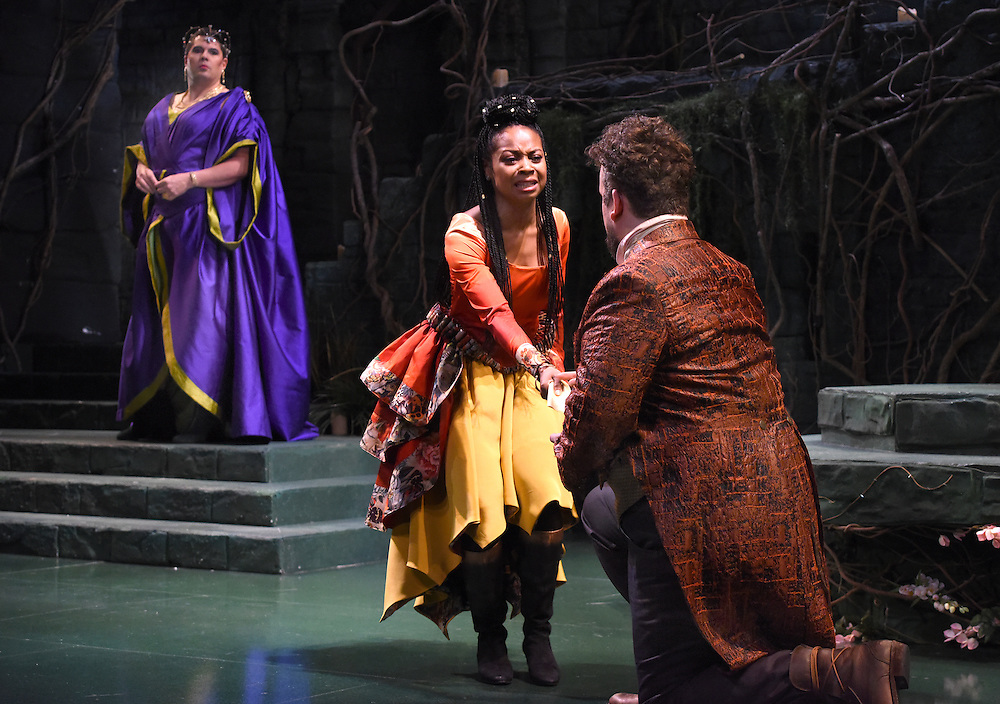 Mara Lavitt -- Special to the Hartford Courant<br /> March 24, 2016<br /> The run-through of William Shakespeare's &quot;Cymbeline,&quot; at the University Theatre at Yale. Michael Manuel as The Queen, Sheria Irving as Imogen, and Christopher Michael McFarland as Pisanio.