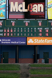 07 June 2013:  Corn grows beyond the outfield fence in front of the scoreboard at the Corn Crib during a Frontier League Baseball game between the Southern Illinois Miners and the Normal CornBelters at Corn Crib Stadium on the campus of Heartland Community College in Normal Illinois