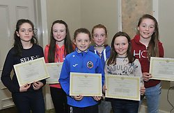 Westport AC's Girls U13 and U12 team members with their achievement awards for 2015 at the Club's presentation, from left Niamh Reilly, Katie O'Grady, Kate Grady, Sophie Scahill, Aoife Staunton and Laura Moran.<br /> Pic Conor McKeown
