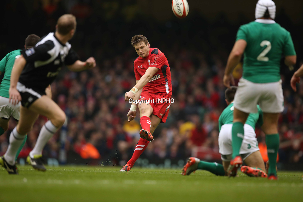 RBS 6 Nations Championship, Millennium Stadium, Cardiff, Wales 14/3/2015<br /> Wales vs Ireland <br /> Wales' Dan Biggar kicks a drop goal<br /> Mandatory Credit &copy;INPHO/Billy Stickland