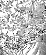 Desiderus Erasmus (1465-1536) Dutch humanist and scholar.  Engraving after Holbein.