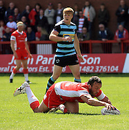 Josh Hodgson of Hull Kingston Rovers scores the games first try during the First Utility Super League match at the KC Lightstream Stadium, Kingston upon Hull<br /> Picture by Richard Gould/Focus Images Ltd +44 7855 403186<br /> 25/05/2014