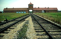 POLAND AUSCHWITZ AUG96 - Entry gate to Auschwitz camp II, the extermination camp.  <br /> <br /> jre/Photo by Jiri Rezac<br /> <br /> © Jiri Rezac 1996<br /> <br /> Tel:   +44 (0) 7050 110 417<br /> Email: info@jirirezac.com<br /> Web:   www.jirirezac.com