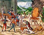 Ferdinand de Soto (c1496-1542) Spanish explorer and his men torturing natives of Florida in his determination to find gold. Hand-coloured engraving. John Judkyn Memorial Collection, Freshford Manor, Bath