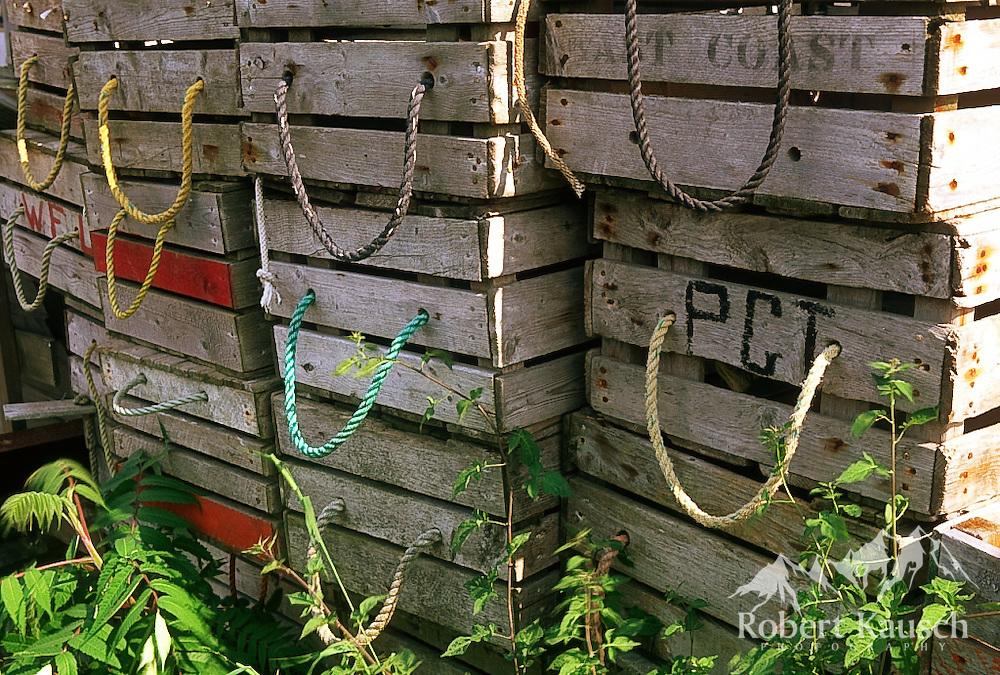 Old wooden lobster traps