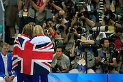 Rebecca Adlington (R) and Joanne Jackson (L) of Great Britian are photographed after winning the  Gold and Bronze in the Women's 400M freestyle Final during day three of the.2008 Beijing Olympics in Beijing, China, on Monday, Aug. 11, 2008. The 2008 Beijing Olympics will run until Aug. 24, 2008. Photographer:Natalie Behring/Bloomberg News