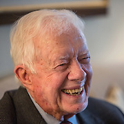 WASHINGTON, DC - APR 3: Former President of the United States, Jimmy Carter, gives an interview to The Times in his hotel suite at the Mandarin Oriental hotel in Washington, DC. Photo by Evelyn Hockstein