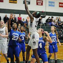 TOM KELLY IV &mdash; DAILY TIMES<br /> DCS's Siani McNeil (32) goes up for a layup over Christian Academy's Carli Sitkowksi (4) during the, The Christian Academy at Delaware County Christian School girls basketball game on Friday afternoon, December 12, 2014.