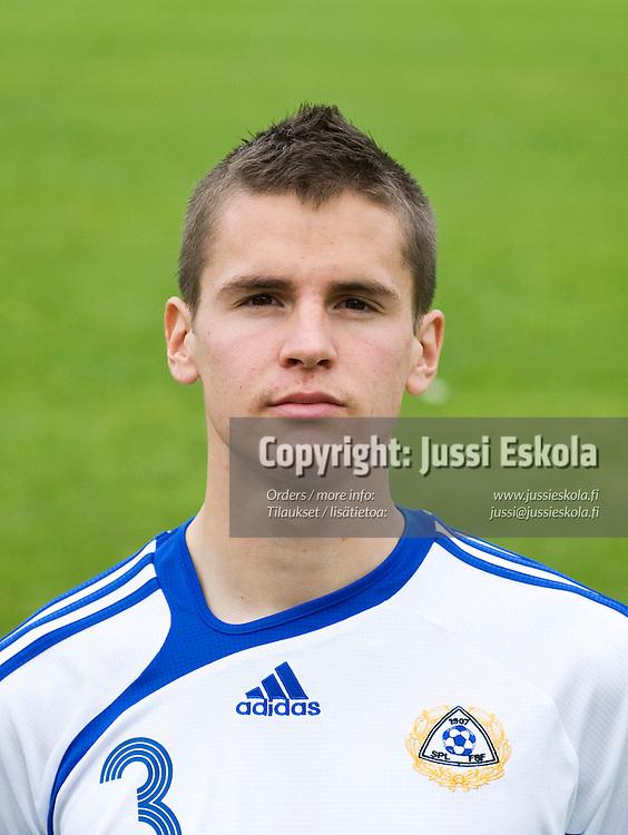 Jukka Raitala. Alle 21-vuotiaiden maajoukkue, U21. Helsinki 6.9.2008. Photo: Jussi Eskola