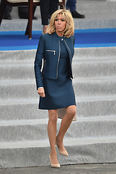 Brigitte Macron attends the annual Bastille Day military parade on the Champs-Elysees avenue in Paris on July 14, 2017. Photo by Lionel Hahn/ABACAPRESS.com