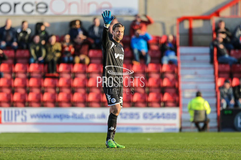 Wigan's goalkeeper Jussi Jääskeläinen during the Sky Bet League 1 match between Swindon Town and Wigan Athletic at the County Ground, Swindon, England on 25 March 2016. Photo by Shane Healey.