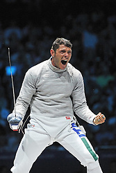 03.08.2012, ExCeL Exhibition Centre, London, GBR, Olympia 2012, Fechten, im Bild Celebration Aldo MONTANo (ITA) BRONZE Medal // during fencing, at the 2012 Summer Olympics at ExCeL Exhibition Centre, London, United Kingdom on 2012/08/03. EXPA Pictures © 2012, PhotoCredit: EXPA/ Insidefoto/ Giovanni Minozzi  *****ATTENTION - for AUT, SLO, CRO, SRB, SUI and SWE only *****