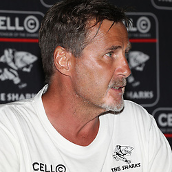 DURBAN, SOUTH AFRICA - JANUARY 25: Robert du Preez (Head Coach) of the Cell C Sharks during the Cell C Sharks press conference at Growthpoint Kings Park on January 25, 2018 in Durban, South Africa. (Photo by Steve Haag/Gallo Images)