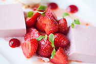 Strawberry panna cotta, fresh strawberries