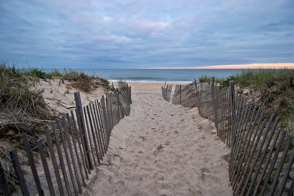 Beach entrance between snow fences, Sagg Main Beach ...