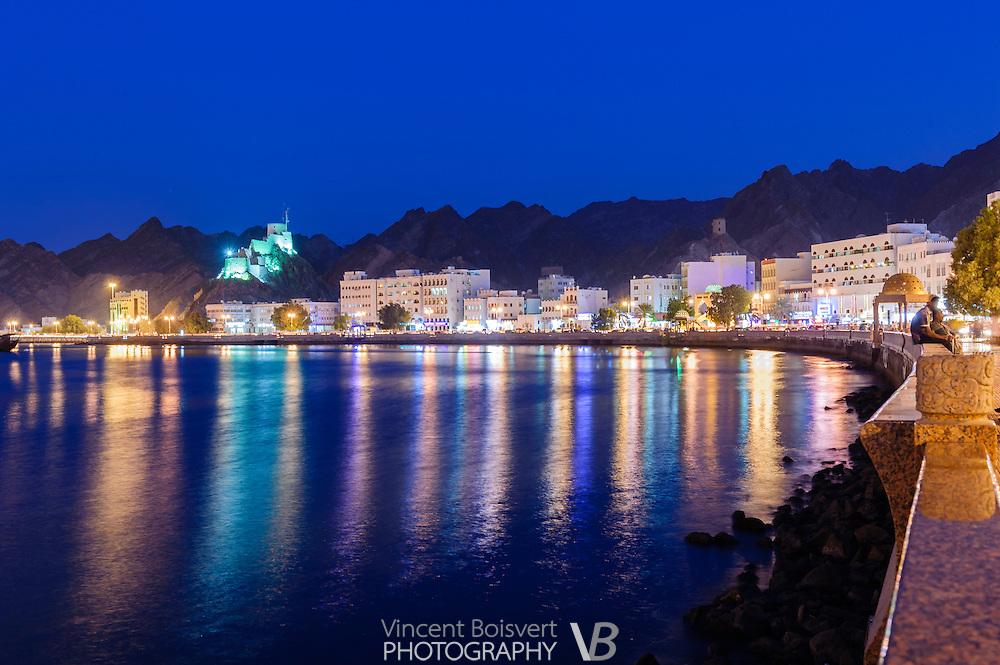 blue hour along the cornice of Mutrah area, Muscat, Oman