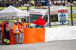 November 17, 2019, Cheste, VALENCIA, SPAIN: Red flag fly during the World Champion photo during the Valencia Grand Prix of MotoGP World Championship celebrated at Circuit Ricardo Tormo on November 16, 2019, in Cheste, Spain. (Credit Image: © AFP7 via ZUMA Wire)