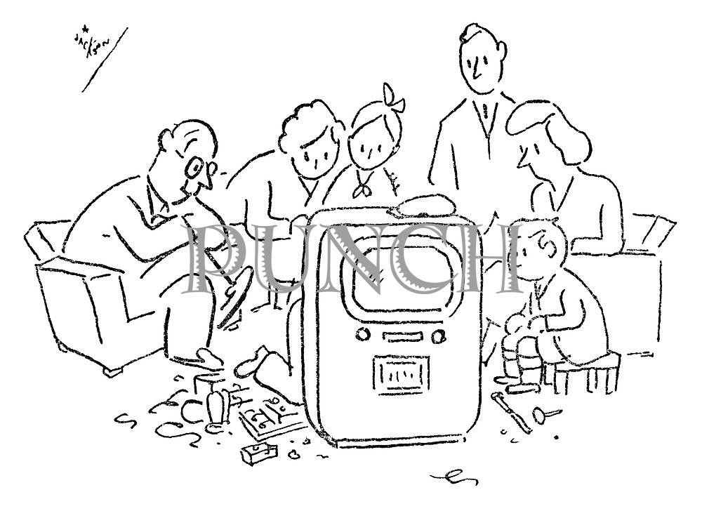 (Family watching television being repaired)