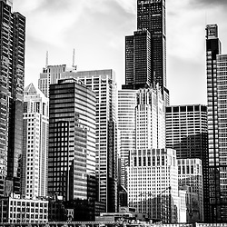 Chicago high resolution picture in black and white including downtown city office buildings and skyscrapers at Lake Street with Willis Tower (Sears Tower). Photo Copyright © 2012 Paul Velgos with All Rights Reserved.