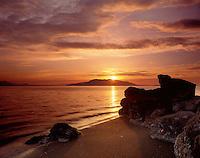 Evening light over Samish Bay from Larrabee State Park Washington USA