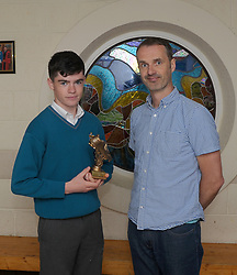 Sancta Maria College Awards 2018<br /> John Grady accecpted Golden Boot from Cormac McCarthy as Top Scorer U17 Soccer team.<br /> Pic Conor McKeown