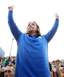 Team Europe's Tommy Fleetwood celebrates after Europe win the Ryder Cup during the Singles match on day three of the Ryder Cup at Le Golf National, Saint-Quentin-en-Yvelines, Paris.