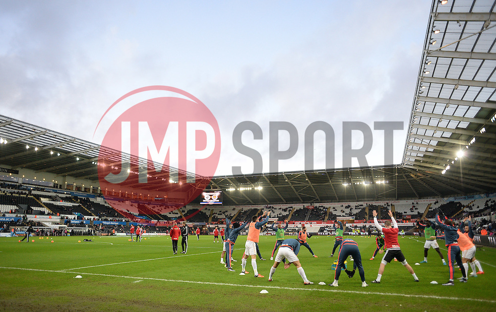 Swansea City team warm up prior to kick off. - Mandatory byline: Alex James/JMP - 07966 386802 - 20/12/2015 - FOOTBALL - Liberty Stadium - Swansea, England - Swansea City v West Ham United - Barclays Premier League