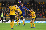 Chelsea Forward Olivier Giroud battles for the ball during the Premier League match between Wolverhampton Wanderers and Chelsea at Molineux, Wolverhampton, England on 5 December 2018.