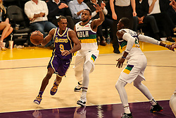 February 27, 2019 - Los Angeles, CA, U.S. - LOS ANGELES, CA - FEBRUARY 27: Los Angeles Lakers Guard Rajon Rondo (9) goes through the lane during second half of the New Orleans Pelicans versus Los Angeles Lakers game on February 27, 2019, at Staples Center in Los Angeles, CA. (Photo by Icon Sportswire) (Credit Image: © Icon Sportswire/Icon SMI via ZUMA Press)