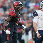 03 September 2016: The San Diego State Aztecs football team open's up the season at home against the University of New Hampshire Wildcats. San Diego State safety Malik Smith (12) celebrates after making a stop for a loss in the first half. The Aztec lead 21-0 at halftime. www.sdsuaztecphotos.com