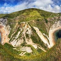 Panorama from the top of Durdle Door in Dorset, England.