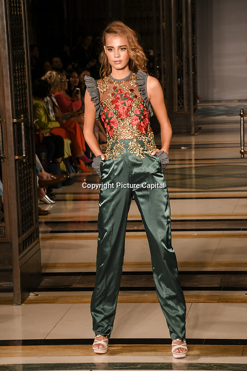 Designer Ashley Isham showcases is latest collection at Fashion Scout - SS19 at Freemasons Hall, London, UK. 14 September 2018.