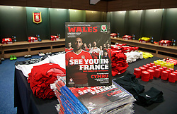 CARDIFF, WALES - Thursday, March 24, 2016: Wales' match programme in the dressing room before the International Friendly match against Northern Ireland at the Cardiff City Stadium. (Pic by David Rawcliffe/Propaganda)