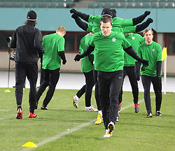 VIENNA, AUSTRIA - Wednesday, December 16, 2009: Glasgow Celtic's players during a training session ahead of the UEFA Europa League Group C match against SK Rapid Vienna at the Ernst Happel Stadion. (Pic by Thomas Haumer/Expa/Propaganda)