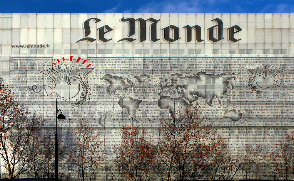 General view of the Headquarters of the French Daily Newspaper Le Monde on the Boulevard Auguste-Blanqui in Paris. Facade, containing a large fresco adorned by pigeons, drawn by French cartoonist Plantu, is designed by Christian de Portzamparc. Le Monde is one of the two newspapers of record, founded in 1944 by Hubert Beuve-Mery on request of General Charles de Gaulle. Picture by Manuel Cohen