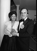 """Reception For """"Sheba"""" Ireland's Eurovision Entrants..1981..01.04.1981..04.01.1981..1st April 1981..The Minister for Posts and Telegraphs,Mr Albert Reynolds TD,held a reception in the State Apartments,Dublin Castle on the occasion of the Grand Prix of the Eurovision Song Contest 1981. The contest was being held in Ireland after Johnny Logans win at the Hague in 1980. Ireland's representatives this year are """"Sheba"""" singing  """"Horoscopes""""...Portrait of Albert and Kathleen Reynolds taken at the Eurovision Reception at Dublin Castle."""