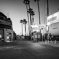 Newport Beach Balboa Auto Ferry black and white photo. The Balboa Auto Ferry transports passengers across Newport Harbor between Balboa Peninsula and Balboa Island in Orange County Southern California. Photo is high resolution. Copyright ⓒ 2017 Paul Velgos with All Rights Reserved.
